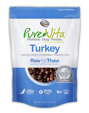 PureVita Grain Free Freeze Dried Turkey Delights Holistic Dog Treats