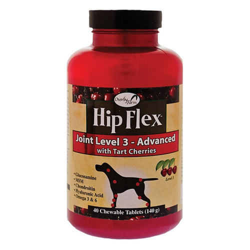 Overby Farm Hip Flex Joint Level 3 Advance Care with Glucosamine & MSM Chewable Tablets for Dogs