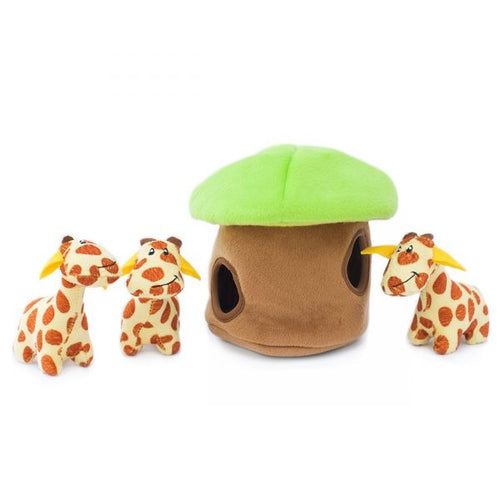 ZippyPaws Zippy Burrow Giraffe Lodge Puzzle Dog Toy
