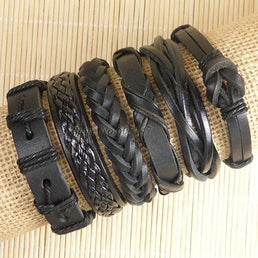 "Set 6 bracelets  ""EthnicTribal"" cuir"