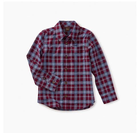 Lakeshore Plaid Baby Ben Shirt, , Tea - Purr Petite