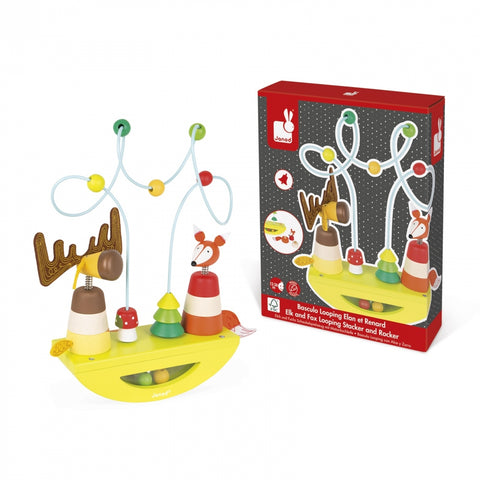 Elk and Fox Looping Stacker and Rocker, Toy, Janod - Purr Petite