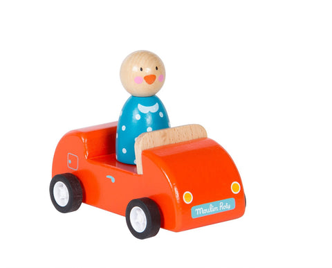 Grand Famille - Wooden Car w Character, Toy, Moulin Roty - Purr Petite