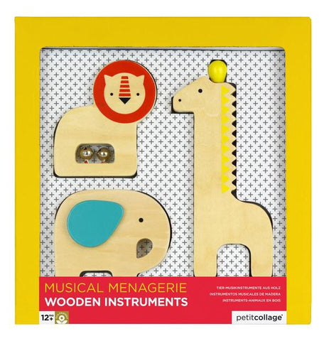 Musical Menagerie Animal Instruments, Wood, Toy, Petit Collage - Purr Petite