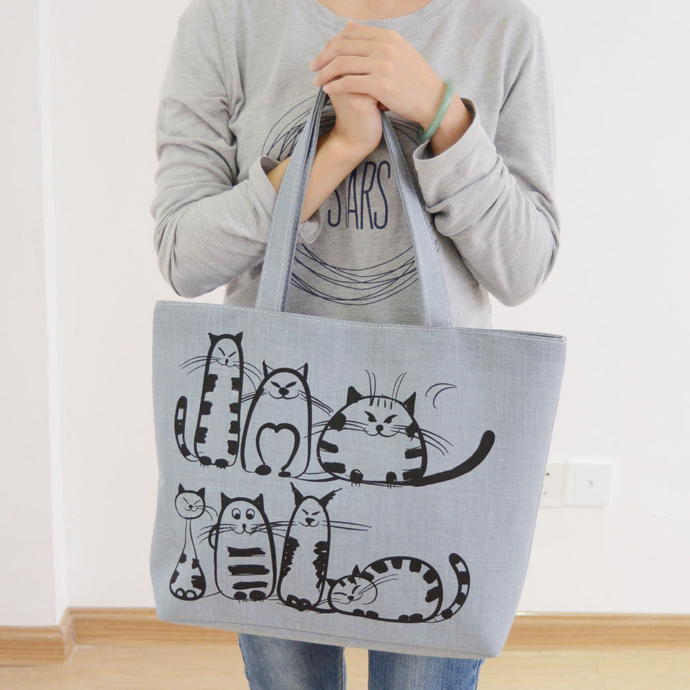 Canvas Cat Bag - Cute Solid Cartoon Cats Printed Zipper Handbag