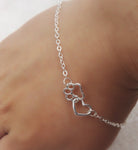 Lovely Cat Paw Heart Bracelet  - Silver Plated