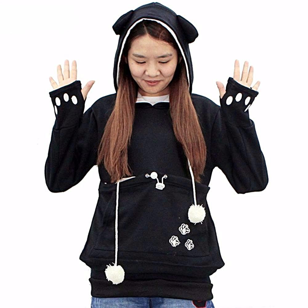 Hoodie for Cat Lovers - Long Sleeve Sweatshirt with Front Pocket