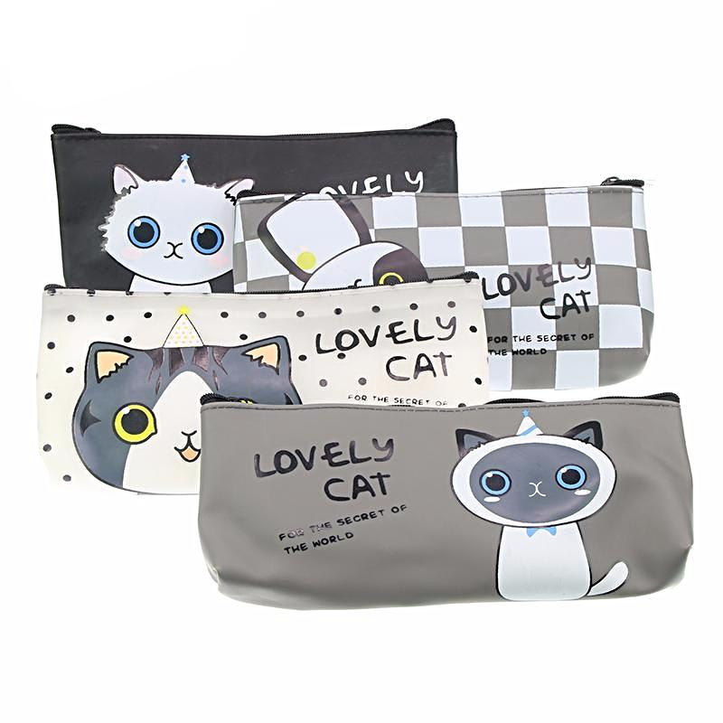 Kawaii Cat Pencil Case - Leather
