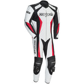 Cortech Latigo 2.0 RR Leather One-Piece Race Suit White/Black/Red