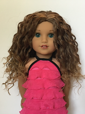 Zazou Dolls Exclusive Bohemian Waves WIG Warm Glaze Ombre for 18 Inch dolls such as  American Girl