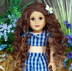 Zazou Dolls Exclusive Beach Waves WIG Butterscotch Ombre for 18 Inch dolls such as American Girl