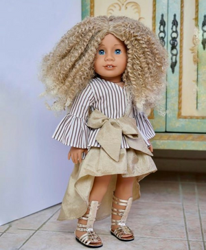 Zazou Dolls Exclusive Wild & Free WIG  Caramel for 18 Inch dolls such as Journey & American Girl