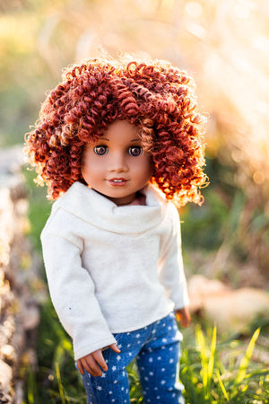 Zazou Dolls Exclusive BohoChic WIG Carrot for 18 Inch dolls such as OG and American Girl