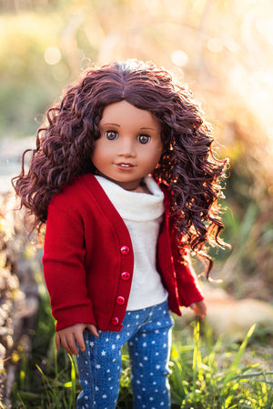 Zazou Dolls Exclusive Bohemian Auburn WIG for 18 Inch dolls such as Journey, OG and American Girl Auburn