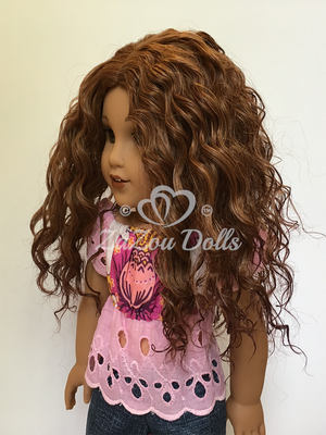 Zazou Dolls Exclusive Bohemian Waves WIG  Deep Copper Ombre for 18 Inch dolls such as  American Girl