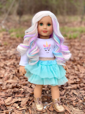 PREORDER: Zazou Dolls Exclusive WIG Blanca Pastel for 18 Inch dolls such as OG and American Girl