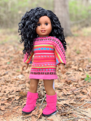 PREORDER: Zazou Dolls Exclusive BohoWaves WIG Onyx for 18 Inch dolls such as OG & American Girl