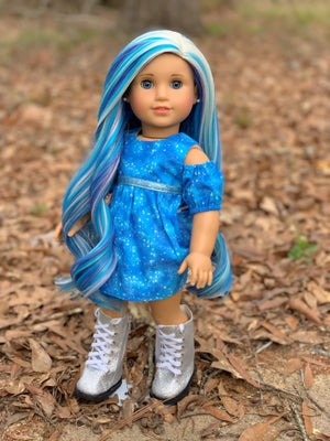 PREORDER: Zazou Dolls Exclusive  WIG  Moon Ocean for 18 Inch dolls such as OG and American Girl