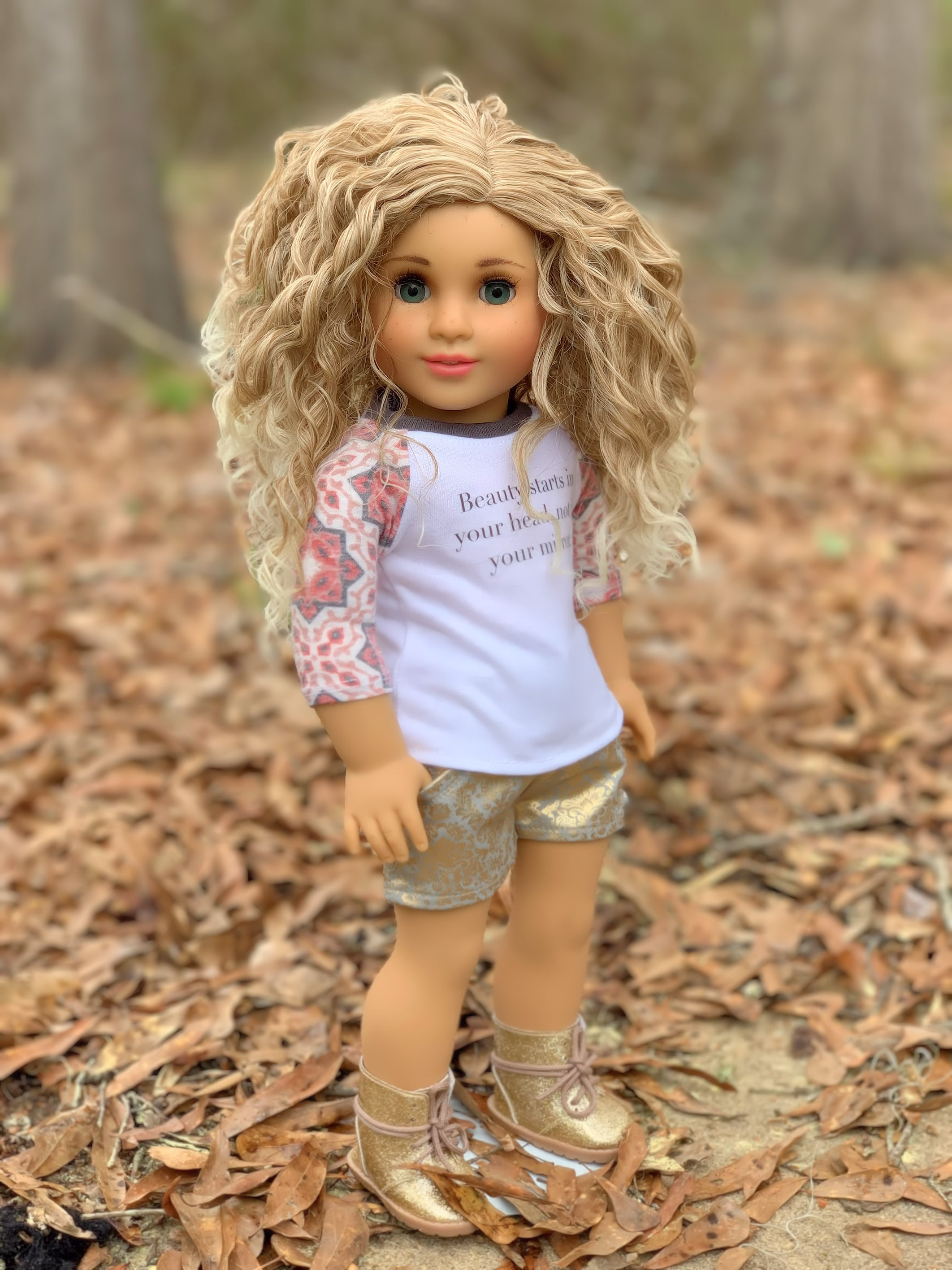 Zazou Dolls Exclusive BohoWaves WIG Caramel Twist for 18 Inch dolls such as OG & American Girl