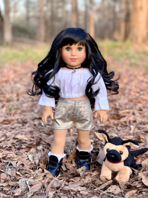 PREORDER: Zazou Dolls Exclusive Breezy WIG Jet Black for 18 Inch dolls such as  OG and American Girl