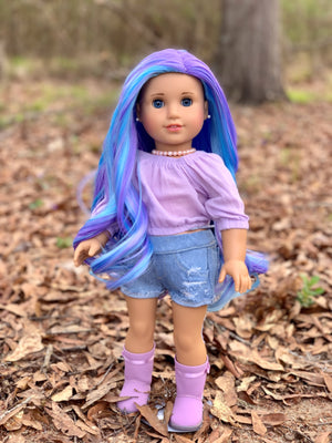 Zazou Dolls Exclusive Majesty WIG Lavender Sky for 18 Inch dolls such as Journey, OG & American Girl