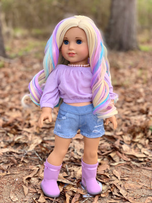 Zazou Dolls Exclusive Lovely WIG Lilia Rainbow for 18 Inch dolls such as OG and American Girl