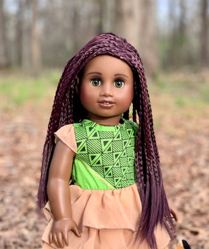 Zazou Dolls Exclusive  WIG Twisted Mahogany for 18 Inch dolls such as OG and American Girl