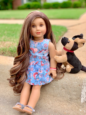PREORDER: Zazou Dolls Exclusive WIG  Golden Sunset for 18 Inch dolls such as  OG & American Girl
