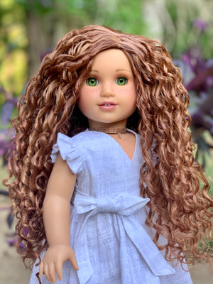 PREORDER: Zazou Dolls Exclusive Beach Waves WIG Dark Honey for 18 Inch dolls such as  American Girl