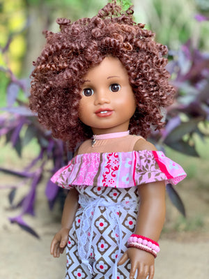 Zazou Dolls Exclusive BohoChic WIG Hershey for 18 Inch dolls such as OG and American Girl AA!!