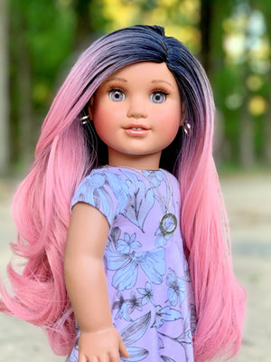 PREORDER: Zazou Dolls Exclusive WIG Unicorn Ombre Rose Blush for 18 Inch dolls such as American Girl