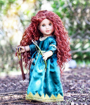 Zazou Dolls Exclusive Beach Waves WIG Merida for 18 Inch dolls such as OG and American Girl