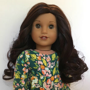 Zazou Dolls Exclusive Lovely WIG Chocolate Mahogany for 18 Inch dolls such as OG and American Girl