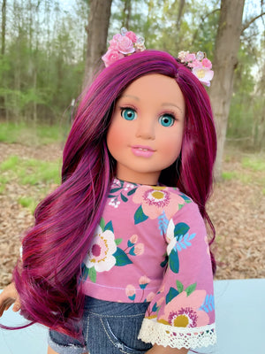 PREORDER: Zazou Dolls Exclusive WIG Cranberry Blast for 18 Inch dolls such as  OG and American Girl