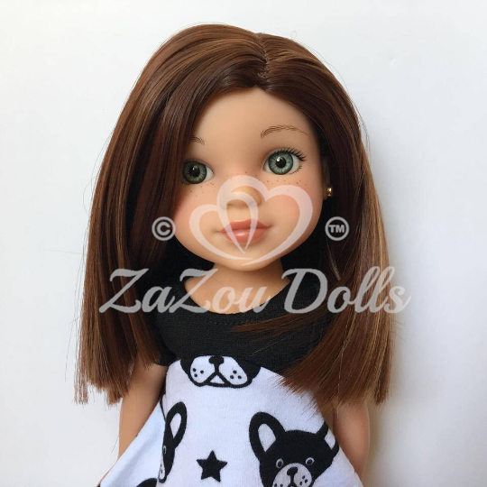 "ZaZou Luxury Petite  Wig in Chocolate Toffee for 14"" dolls such as Wellie Wishers and H4H"