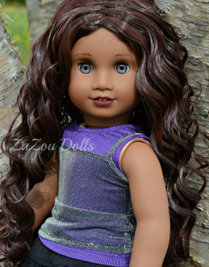 PREORDER: Zazou Dolls Exclusive WIG Dark Mahogany for 18 Inch dolls such as OG and American Girl