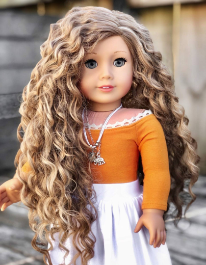 PREORDER: Zazou Dolls Exclusive WIG  Sandy Blonde Waves for 18 Inch dolls such as American Girl