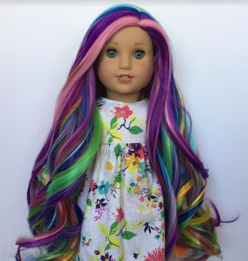 PREORDER: Zazou Dolls Exclusive  WIG LOVE Rainbow for 18 Inch dolls such as American Girl