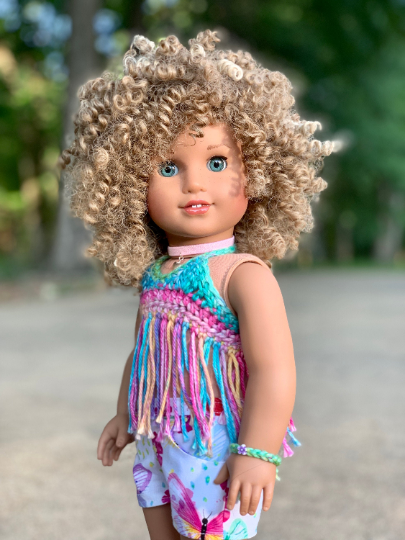 PREORDER: Zazou Dolls Exclusive BohoChic WIG Emilia for 18 Inch dolls such as OG and American Girl