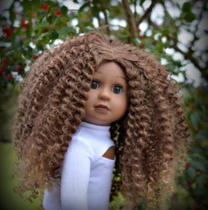 PREORDER: Zazou Dolls Exclusive  WIG  Mocha ombre for 18 Inch dolls such as OG and American Girl