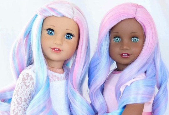 Zazou Dolls Exclusive Dyed WIG Unicorn Passion for 18 Inch dolls such as OG and American Girl