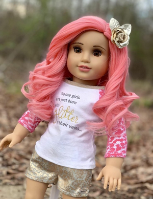Zazou Dolls Exclusive Lovely WIG Salmon Coral for 18 Inch dolls such as OG and American Girl