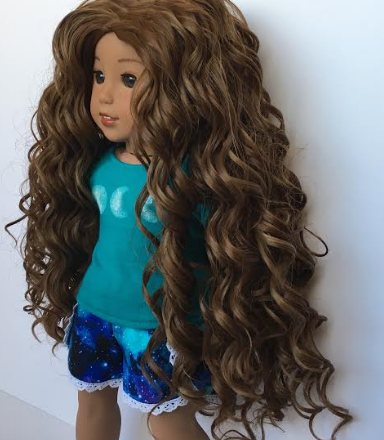 Zazou Dolls Exclusive Beach Waves WIG in Ginger Brown for 18 Inch dolls such as Journey, Our Generation and American Girl