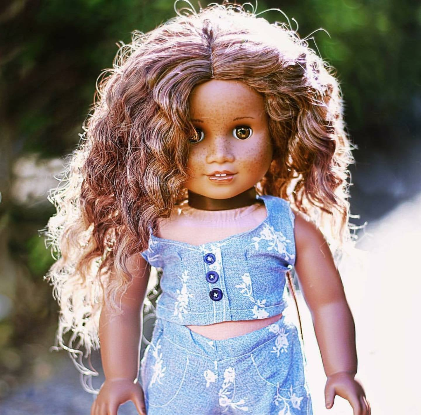 Zazou Dolls Exclusive BohoWaves WIG in Warm Glaze for 18 Inch dolls such as OG and American Girl