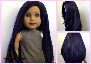 Zazou Dolls Exclusive Beauty WIG Midnight Indigo for 18 Inch dolls such as OG and American Girl