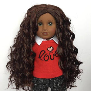 Zazou Dolls Exclusive Beach Waves WIG Dark Mahogany for 18 Inch dolls such as OG and American Girl