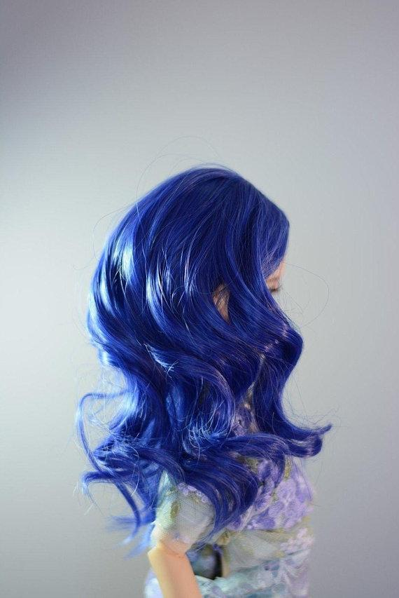 "ZaZou Luxury Collection ""Blue Twilight"" Blue Wig for 18"" MSD BJD Kaye Wiggs"