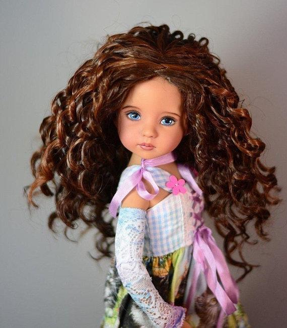 "Zazou Luxury Collection ""Fun Ringlets"" Brown Wig for 13"" Effner Little Darling Doll"