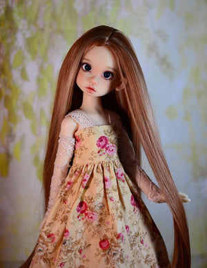 "ZaZou Luxury Collection ""Goldberry's Willow"" Brown Wig for 18"" BJD Kaye Wiggs"