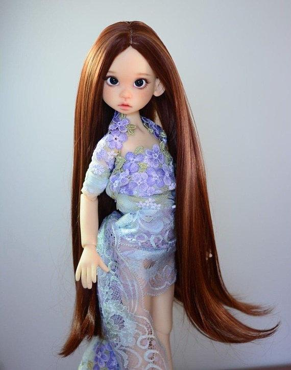 "ZaZou Luxury Collection ""Luthien Tinuviel"" Brown Wig for 18"" BJD Kaye Wiggs"